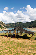 Traditional, hand made Berber tent at Aguelmane Azigza lake in the Middle Atlas Mountains in Morocco near Khenifra