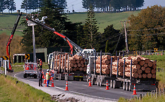 Whangarei-Logging truck rolls, Otaika Valley Road