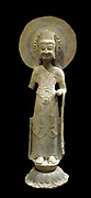 Bodhisattva standing on a flower lotus : 5th to 6th Century AD limestone sculpture from China Shandong