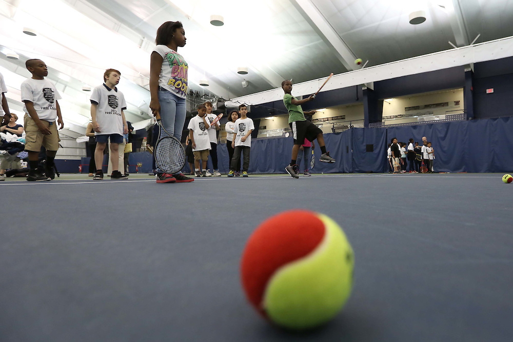 May 15, 2014, New Haven, Connecticut:<br /> Kids participate in a free tennis lesson and clinic Thursday, May 15, 2014 in advance of the 2014 New Haven Open at the Yale University Tennis Center in New Haven, Connecticut. <br /> (Photo by Billie Weiss/New Haven Open)