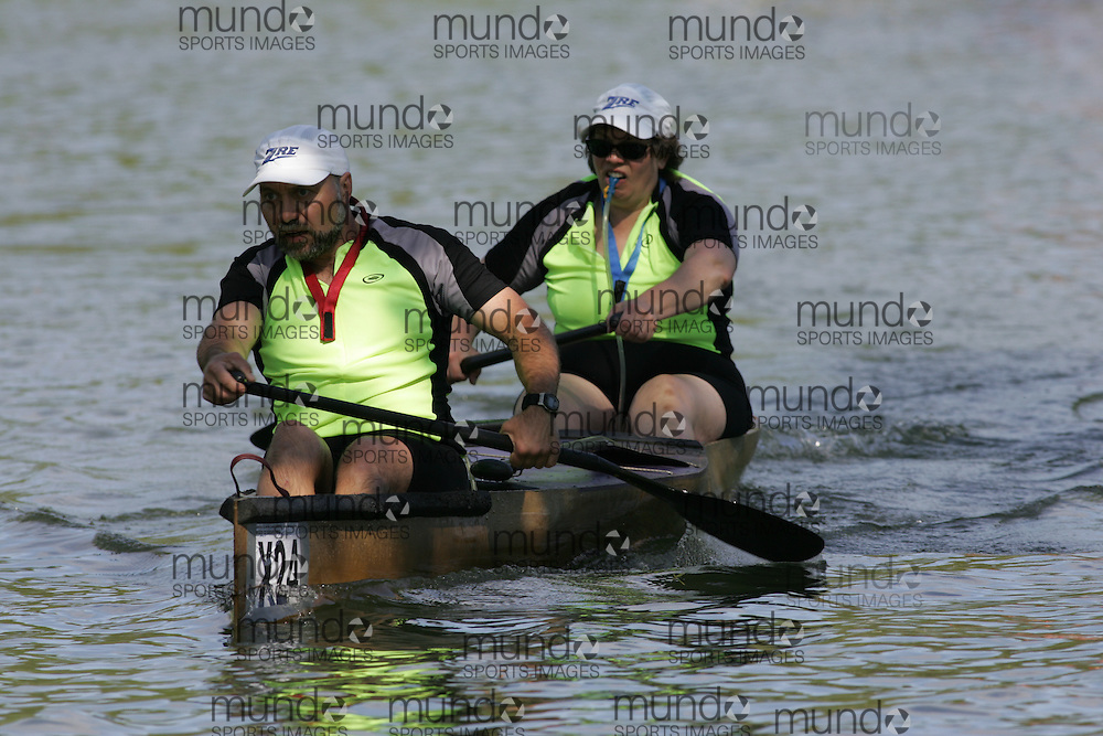 (Cooperstown to Bainsbridge, NY---26 May 2008) The 2008 General Clinton Regatta for Canoes held on 70 miles of the Susquehana River between Cooperstown and Bainsbridge, New York. The boat pictured is X24 EDWARD GREINER, KIM GREINER