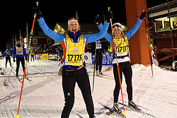 06-03-2016 SWE: Vasaloppet Challenge BvdGF day 7, Sälen<br /> Vandaag een rustig dagje, 90 km langlaufen van Sälen naar Mora in bizarre omstandigheden / Clarissa en Brigiet komen over de finish