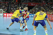 Joan Canellas (Spain) and Max Darj, Mattias Zachrisson (Sweden) during the EHF 2018 Men's European Championship, Final Handball match between Spain and Sweden on January 28, 2018 at the Arena in Zagreb, Croatia - Photo Laurent Lairys / ProSportsImages / DPPI