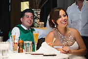 Melissa and Jordan Bencomo celebrate their wedding with family and friends at Washoe Steakhouse in Reno, Nevada, on April 5, 2014. (Stan Olszewski/SOSKIphoto)