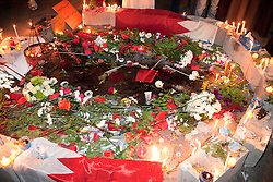© under license to London News Pictures. 20/02/2011. A blood soaked street memorial to honour one of the protesters who was killed at Pearl Roundabout in Manama, Bahrain on Thursday. Photo credit should read Michael Graae/London News Pictures