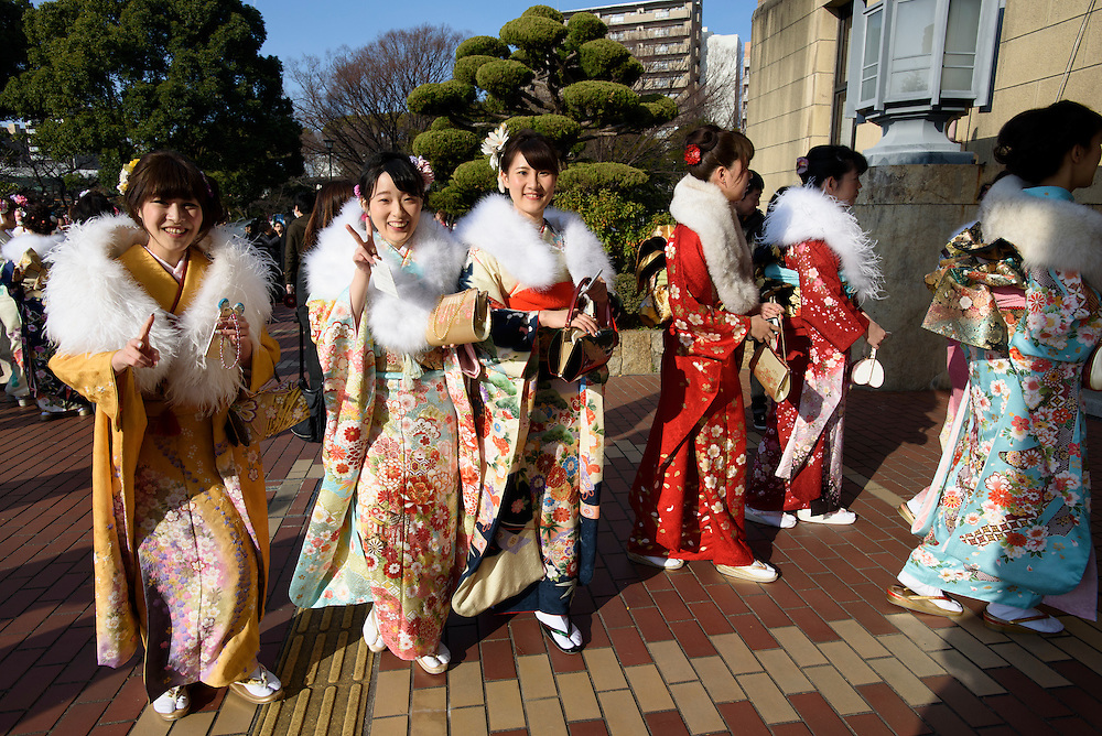 JANUARY 11, 2016 - 20-year-olds attend a Coming of Age Day ceremony at Nagoya Civic Assembly Hall in Nagoya, Japan. The national holiday celebrates young adults reaching the age of majority. 1,210,000 people turned 20 this year, according to the Japanese Ministry of Internal Affairs and Communication. The number of 20-year-olds has been in consistent decline over the past several years, reflecting Japan's falling birth rates. (Photo by Ben Weller/AFLO) (JAPAN) [UHU]