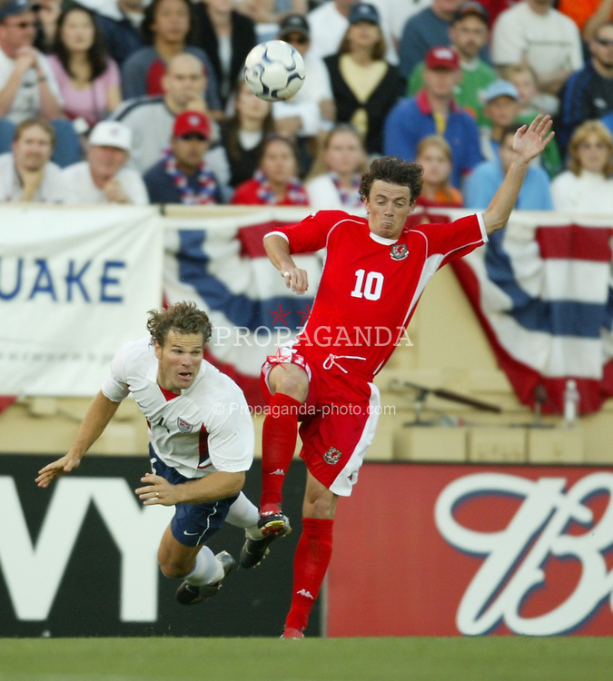 SAN JOSE, USA - Tuesday, May 27, 2003: Wales' Simon Davis and USA's Greg Vanney during the Friendly International match at the Spartan Stadium. (Pic by David Rawcliffe/Propaganda)