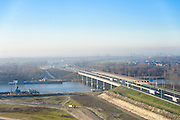 Nederland, Flevoland, Almere, 11-12-2013;  Hollandse brug over Gooimeer  (IJmeer).<br /> Bridge to Almere.<br /> luchtfoto (toeslag op standaard tarieven);<br /> aerial photo (additional fee required);<br /> copyright foto/photo Siebe Swart.