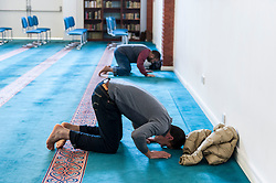 "© Licensed to London News Pictures. 07/02/2016. London, UK.  Worshippers in the prayer room.  The East London Mosque & London Muslim Centre, in the heart of Tower Hamlets, and home to the UK's largest Muslim community, opens its doors as part of ""Visit My Mosque Day"", a national initiative facilitated by the Muslim Council of Britain, where mosques across the UK organise open days to allow the British public to see what goes on in a mosque and to understand its role in Muslim life.  The aims are ""to reduce the 'unknown' or 'fear' factor for members of the British public with their local mosque and Muslim communities"". Photo credit : Stephen Chung/LNP"