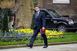 © Licensed to London News Pictures. 12/04/2018. London, UK. Secretary of State for Business, Energy and Industrial Strategy Greg Clarke arriving in Downing Street to attend a 'War Cabinet' meeting this afternoon. Discussion is expected on Britain's involvement on military action in Syria, following a suspected chemical attack. Photo credit : Tom Nicholson/LNP