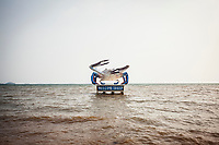 A gigantic crab sculpture in the water welcoming visitors to Kep, Cambodia.