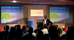 Kriss Akabusi gives a talk and shows the audience footage of the 4x400m race he was part of and won gold in at The Bristol Sport Big Breakfast - Mandatory by-line: Robbie Stephenson/JMP - 29/07/2016 - FOOTBALL - Ashton Gate - Bristol, England - Bristol Sport Big Breakfast - Kriss Akabusi