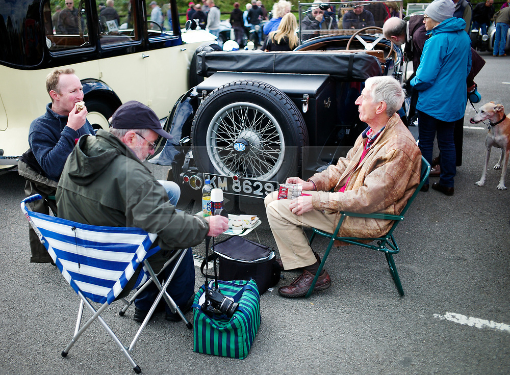 © Licensed to London News Pictures. <br /> 10/09/2017 <br /> Saltburn by the Sea, UK.  <br /> <br /> Vehicle owners share a picnic as they take part in the annual Saltburn by the Sea Historic Gathering and Hill Climb event. Organised by Middlesbrough and District Motor Club the event brings together owners of a wide range of classic cars and motorcycles dating from the early 1900's to 1975. Participants take part in a hill climb to test their machines up a steep hill near the town. Once held as a competitive gathering a change in road regulations forced the hill climb to become a non-competitive event.<br /> <br /> Photo credit: Ian Forsyth/LNP