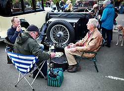 &copy; Licensed to London News Pictures. <br /> 10/09/2017 <br /> Saltburn by the Sea, UK.  <br /> <br /> Vehicle owners share a picnic as they take part in the annual Saltburn by the Sea Historic Gathering and Hill Climb event. Organised by Middlesbrough and District Motor Club the event brings together owners of a wide range of classic cars and motorcycles dating from the early 1900's to 1975. Participants take part in a hill climb to test their machines up a steep hill near the town. Once held as a competitive gathering a change in road regulations forced the hill climb to become a non-competitive event.<br /> <br /> Photo credit: Ian Forsyth/LNP