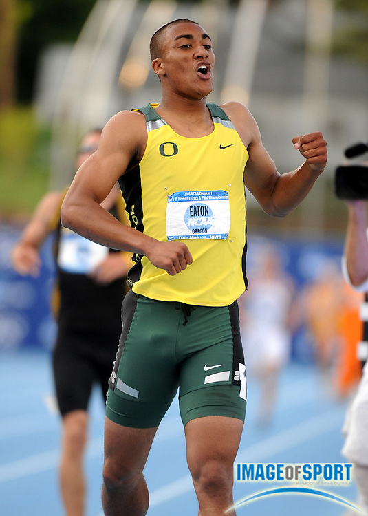 Jun 12, 2008; Des Moines, IA; Ashton Eaton of Oregon celebrates after crossing the line of the decathlon 1,500m to win with 8,055 points in the NCAA Track & Field Championships at Drake Stadium