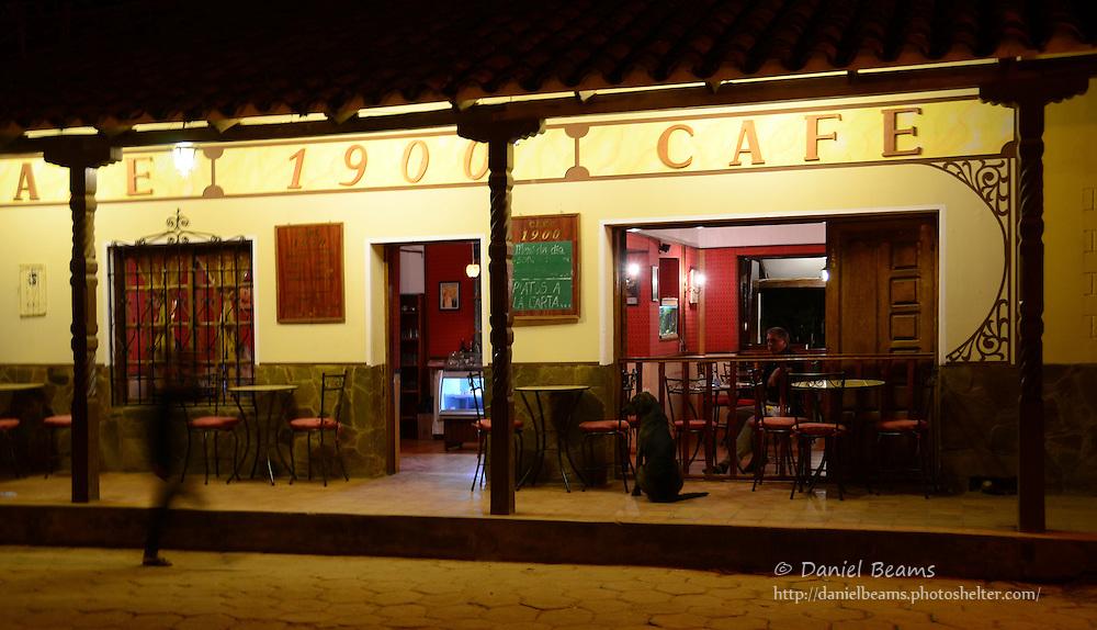 """""""Cafe 1900"""" restaurant at night in Samaipata, Santa Cruz, Bolivia"""