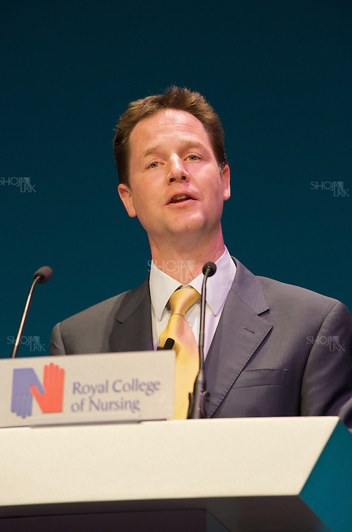 Liberal Democrat Leader Nick Clegg, during a speech at the Royal College of Nursing conference in Bournemouth, Dorset on April 27, 2010.