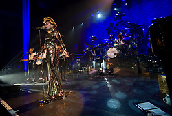 Paloma Faith on stage at the Cambridge Corn Exchange, UK, January 17, 2013.  Photo by Matthew Power / i-Images.
