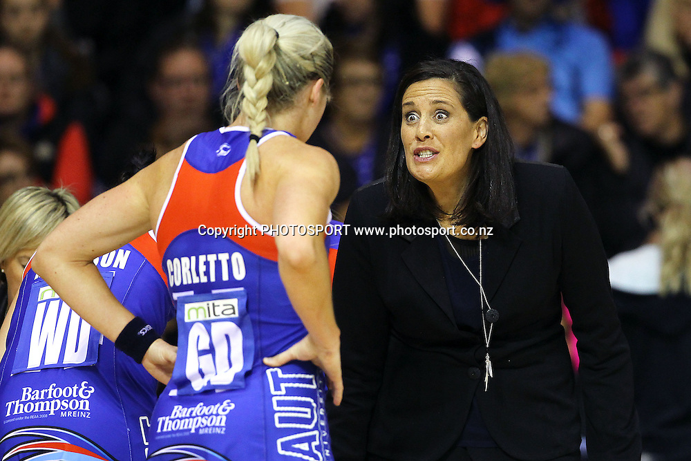 Mystics' Head Coach Debbie Fuller reacts to Julie Corletto. ANZ Netball Championship, Northern Mystics v West Coast Fever, Trusts Stadium, Auckland, New Zealand. Monday 26th May 2014. Photo: Anthony Au-Yeung / photosport.co.nz