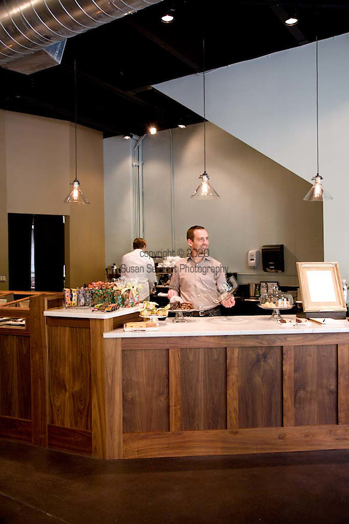 Cacao owners Aubrey Lindley and Jesse Manis tend bar