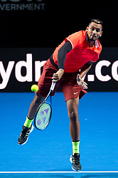 January 7, 2019 - Sydney, NSW, U.S. - SYDNEY, AUSTRALIA - JANUARY 07: Nick Kyrgios (AUS) serves at The Sydney FAST4 Tennis Showdown on January 07, 2018, at Qudos Bank Arena in Homebush, Australia. (Photo by Speed Media/Icon Sportswire) (Credit Image: © Steven Markham/Icon SMI via ZUMA Press)