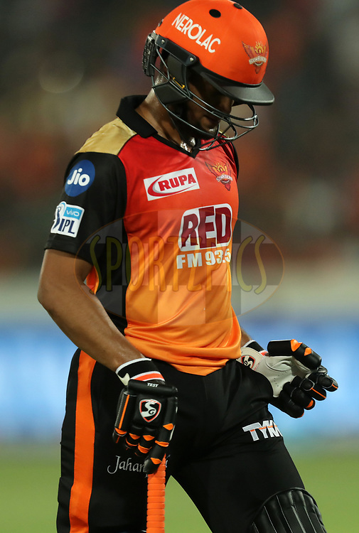 Shakib Al Hasan of Sunrisers Hyderabad walks back during match twenty five of the Vivo Indian Premier League 2018 (IPL 2018) between the Sunrisers Hyderabad and the Kings XI Punjab  held at the Rajiv Gandhi International Cricket Stadium in Hyderabad on the 26th April 2018.<br /> <br /> Photo by: Prashant Bhoot /SPORTZPICS for BCCI