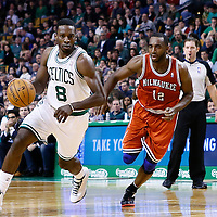 21 December 2012: Boston Celtics power forward Jeff Green (8) drives past Milwaukee Bucks power forward Luc Richard Mbah a Moute (12) during the Milwaukee Bucks 99-94 overtime victory over the Boston Celtics at the TD Garden, Boston, Massachusetts, USA.