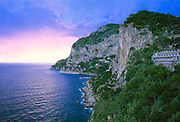 6302-1000LVT ~ Copyright: George H.H. Huey ~ Island of Capri[Isola di Capri] with clearing storm at sunset.  Mediterranean Sea.  Near the Amalifi Coast.  Campania, Italy