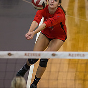 01 October 2015 - The San Diego State Aztecs women's volleyball team takes on #25 Wyoming at Peterson Gym on the campus of San Diego State.