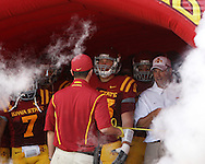 September 3, 2009: Iowa State head coach Paul Rhoads (right) talks to Iowa State linebacker Justin Rumple (31) in the tunnel before taking the field at the start of the Iowa State Cyclones' 34-17 win over the North Dakota State Bison at Jack Trice Stadium in Ames, Iowa on September 3, 2009.