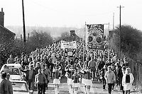 Wath Main Miners march back to work with their famillies after the 1984-85 miners strike . March 1985...&copy; Martin Jenkinson<br /> email martin@pressphotos.co.uk. Copyright Designs &amp; Patents Act 1988, moral rights asserted credit required. No part of this photo to be stored, reproduced, manipulated or transmitted to third parties by any means without prior written permission