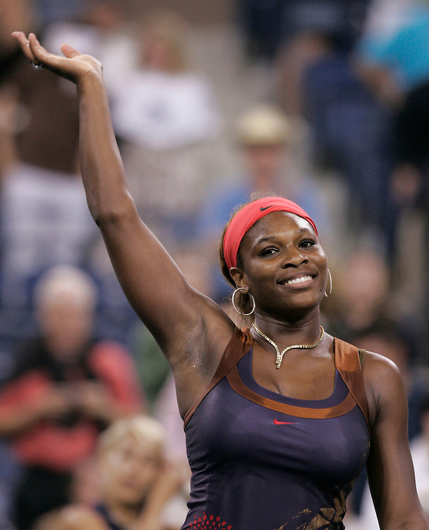 Serena Williams of the US waves to the crowd after defeating Ana Ivanovic of Serbia and Montenegro in their third round match on the seventh day of the 2006 US Open tennis tournament in Flushing Meadows New York Sunday 03 September 2006 (Andrew Gombert for The New York Times)