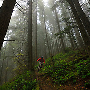 Owen Dudley rides through the mist near Bellingham, Washington.