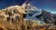 Caroline (SE) face of Aoraki / Mount Cook, dawn, powder snow blown from summit ridge by strong westerly, panorama view from near Caroline hut, Tasman glacier (right), Mount Cook National Park