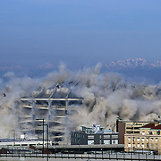 Kingdome Sports Arena implosion, wired with explosives ready for implosion at 8:30 am March 26, 2000, Seattle, Washington