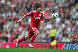 LIVERPOOL, ENGLAND - Saturday, April 23, 2011: Liverpool's Luis Alberto Suarez Diaz in action against Birmingham City during the Premiership match at Anfield. (Photo by David Rawcliffe/Propaganda)