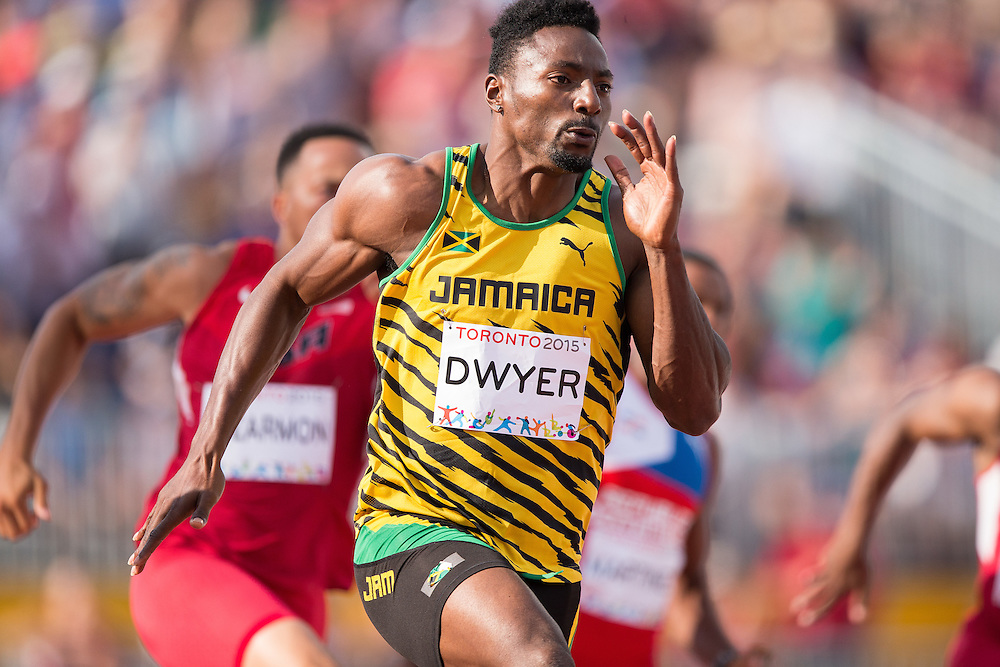 Rasheed Dwyer of Jamaica competes in the men's 200 metre final at the 2015 Pan American Games at CIBC Athletics Stadium in Toronto, Canada, July 24,  2015.  AFP PHOTO/GEOFF ROBINS