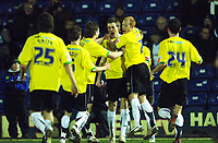 Photo: Paul Greenwood.<br />Bury v Hereford United. Coca Cola League 2. 30/01/2007. Hereford players celebrate Andy Williams, centre, equaliser