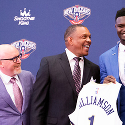 Jun 21, 2019; New Orleans, LA, USA; New Orleans Pelicans head coach Alvin Gentry and Executive Vice President of Basketball Operations and Zion Williamson the first overall selection in the NBA Draft during an introductory press conference at the New Orleans Pelicans Training Facility. Mandatory Credit: Derick E. Hingle-USA TODAY Sports