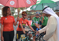 March 1, 2019 - Ajman, United Arab Emirates - Sheikh Ahmed bin Humaid Al Nuaimi, Chairman of the Economic Department of Ajman Emirate meets with the Leader Red Jersey (General Classification), Primoz Roglic of Slovenia and Team Jumbo - Visma, and the Green Jersey (General Points), Stepan Kurianov of Rusia and Team Gazprom-Rusvelo, at the start line of the sixth Rak Properties Stage of UAE Tour 2019, a 180km with a start from Ajman and finish in Jebel Jais. .On Friday, March 1, 2019, in Ajman, Ajman Emirate, United Arab Emirates. (Credit Image: © Artur Widak/NurPhoto via ZUMA Press)