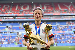 July 7, 2019 - Lyon, France - Megan Rapinoe (Reign FC) of United States whit her trophys celebrates after winning the 2019 FIFA Women's World Cup France Final match between The United State of America and The Netherlands at Stade de Lyon on July 7, 2019 in Lyon, France. (Credit Image: © Jose Breton/NurPhoto via ZUMA Press)