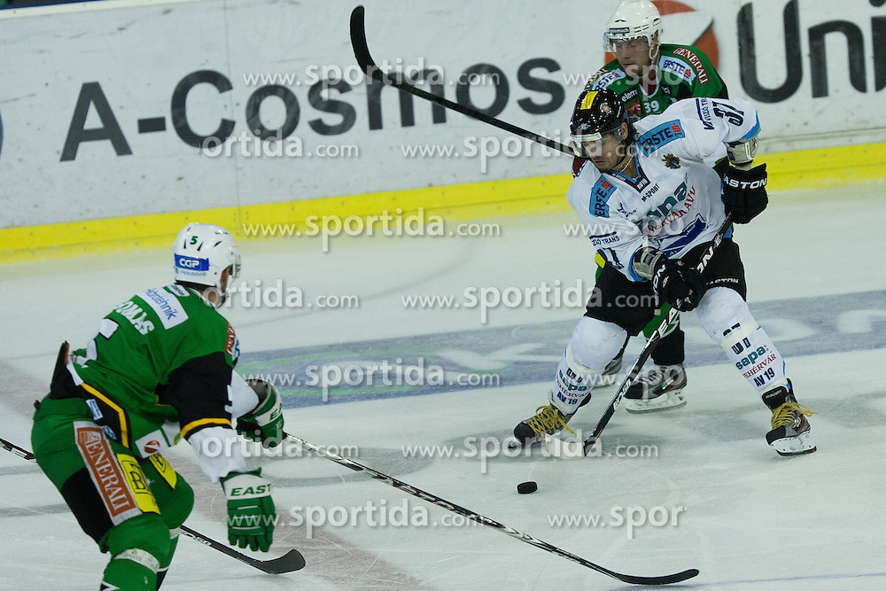 12.10.2012. Hala Tivoli, Ljubljana, SLO, EBEL, HDD Telemach Olimpija Ljubljana vs SAPA Fehérvár AV 19, 11. Runde, in picture Frank Banham (SAPA Fehérvár AV 19, #37) vs Jan Mursak (HDD Telemach Olimpija, #39) during the Erste Bank Ice hockey League 11th Round match between HDD Telemach Olimpija Ljubljana and SAPA Fehérvár AV 19 at the Hala Tivoli, Ljubljana, Slovenia on 2012/10/12. Telemach Olimpija Ljubljana defeated SAPA Fehérvár AV 19, 4-2 (Photo By Grega Valancic / Sportida)
