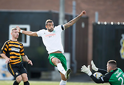Hibernian's Liam Fontaine in on Alloa Athletic's keeper Craig McDowall.<br /> Alloa Athletic 2 v 1 Hibernian, Scottish Championship game played 30/8/2014 at Alloa Athletic's home ground, Recreation Park, Alloa.