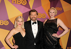 Emilia Clarke, Nikolaj Coster Waldau and Gwendoline Christie at the HBO's 2018 Official Golden Globe Awards After Party held at the Circa 55 Restaurant in Beverly Hills, USA on January 7, 2018.
