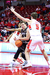 22 November 2017:  Ryan Briscoe pushes in on Matt Hein during a College mens basketball game between the Quincy Hawks and Illinois State Redbirds in  Redbird Arena, Normal IL