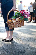 The extremely popular Saturday Portland Farmers' Market, located in the South Park Blocks near the Portland State University Campus, offers a large selection of locally grown organic produce, fish, meat and foodstuffs.  A fresh basket of market goodies.