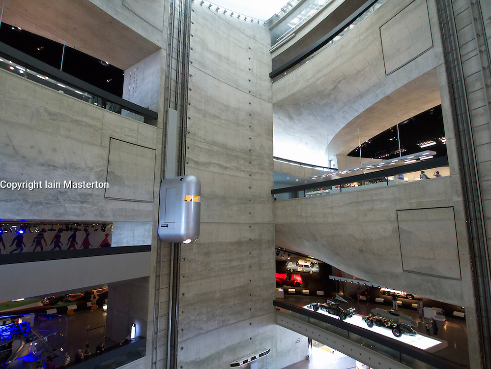Atrium with elevators in Mercedes Benz Museum in Stuttgart Germany