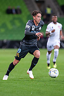 Melbourne City midfielder Lachlan Wales (19) runs the ball for a cross at the FFA Cup quarter-final soccer match between Melbourne City FC and Western Sydney Wanderers FC at AAMI Park in Melbourne.