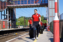 RUNCORN, ENGLAND - Tuesday, May 22, 2018: Wales' goalkeeper Chris Maxwell at Runcorn Station as the squad travel by train as they head to Heathrow for a flight to Los Angeles ahead of the international friendly match against Mexico. (Pic by David Rawcliffe/Propaganda)