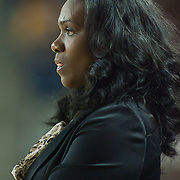 Northeastern Head Coach Daynia La-Force in first half of an NCAA college basketball game against Delaware Sunday, Feb. 26, 2012 at the Bob Carpenter Center in Newark, Del.
